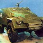 Бронетранспортер БТР-40В с централизованной системой регулировки давления воздуха в шинах в Музее бронетанковой техники, Кубинка.